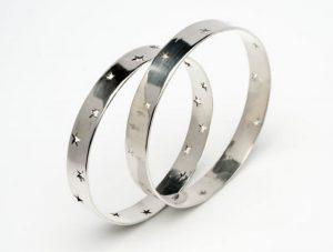 Star pierced sterling silver bangles